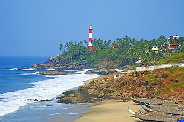 Vizhinjam, fishing harbour near Kovalam and Kovalam lighthouse, Kerala, India, Asia
