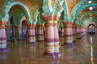 Interior, Maharaja's Palace, Mysore, Karnataka, India, Asia