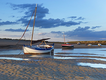 Beautiful light on an autum evening at Burnham Overy Staithe, Norfolk, England, United Kingdom, Europe