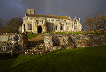 Storm clouds over St. Margarets Church at Cley next the Sea, Norfolk, England, United Kingdom, Europe