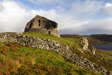 Evening light on Dun Carloway Broch, Isle of Lewis, Outer Hebrides, Scotland, United Kingdom, Europe