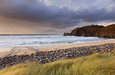 Beautiful evening light at Dhal Mor beach, Isle of Lewis, Outer Hebrides, Scotland, United Kingdom, Europe