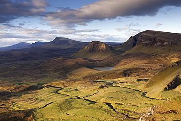 Dramatic early light on the Trotternish ridge as viewed from the Quiraing, Trotternish, Isle of Skye, Scotland, United Kingdom, Europe