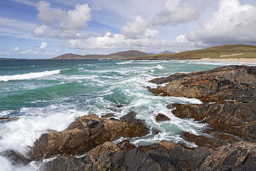A stormy sea on a bright day at Traigh Iar near Horgabost, Isle of Harris, Outer Hebrides, Scotland, United Kingdom, Europe