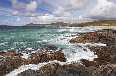 Stormy conditions at Traigh Iar on the Isle of Harris, Outer Hebrides, Scotland, United Kingdom, Europe