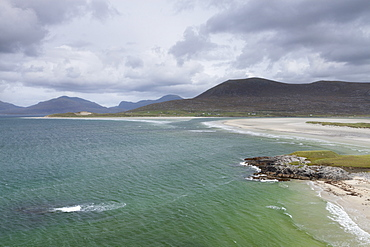 A view of Seilebost beach and Luskentryre from above Seilebost, Isle of Harris, Outer Hebrides, Scotland, United Kingdom, Europe