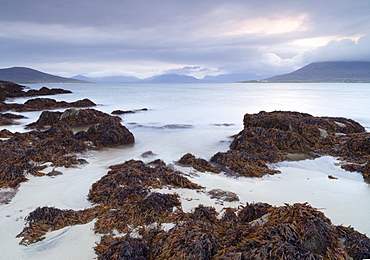 A beautiful morning looking across the Sound of Taransay from Horgabost, Isle of Harris, Outer Hebrides, Scotland, United Kingdom, Europe