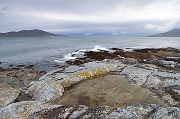 A view across the Sound of Taransay from near Horgabost, Isle of Harris, Outer Hebrides, Scotland, United Kingdom, Europe