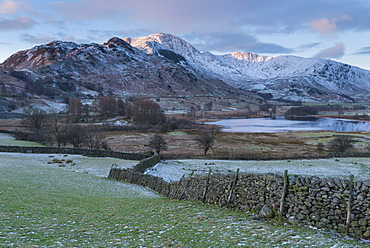 A wintry view of Little Langdale, Lake District National Park, Cumbria, England, United Kingdom, Europe