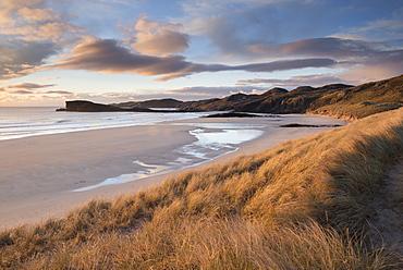 Late evening light on the dunes at Oldshoremore, Sutherland, Scotland, United Kingdom, Europe