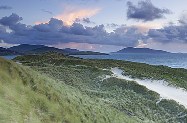 A view across the Sound of Taransay from the dunes at Luskentyre, Isle of Harris, Outer Hebrides, Scotland, United Kingdom, Europe