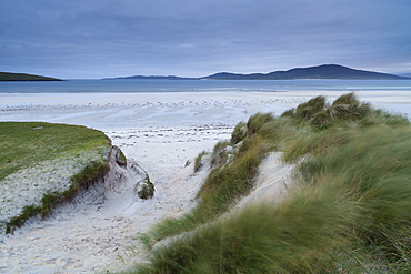 Looking across the dunes and beach towards Taransay from Seilebost, Isle of Harris, Outer Hebrides, Scotland, United Kingdom, Europe