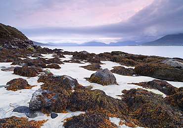 A beautiful dawn sky over the beach at Horgabost, Isle of Harris, Outer Hebrides, Scotland, United Kingdom, Europe