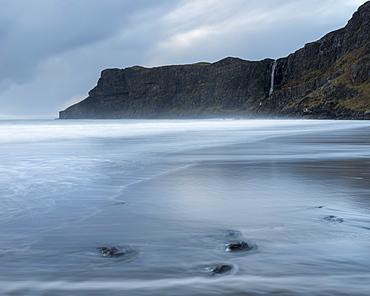 Incoming waves on the beach at Talisker Bay, Isle of Skye, Inner Hebrides, Scotland, United Kingdom, Europe