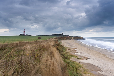 A moody sky looms over the coast at Happisburgh, Norfolk, England, United Kingdom, Europe