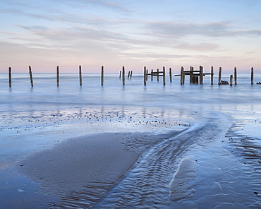 A view of the sea defences on the shoreline at Happisburgh, Norfolk, England, United Kingdom, Europe