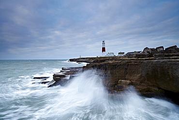 A stormy winter morning at Portland Bill, Jurassic Coast, UNESCO World Heritage Site, Dorset, England, United Kingdom, Europe
