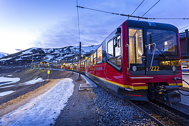 Train to Jungfraujoch, Kleine Scheidegg, Jungfrau region, Bernese Oberland, Swiss Alps, Switzerland, Europe