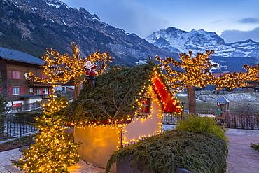 Christmas lights near Dorfstrasse in Wengen, Jungfrau region, Bernese Oberland, Swiss Alps, Switzerland, Europe