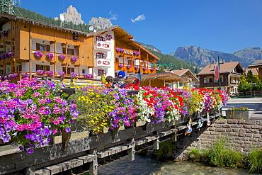 Bridge and flowers, Pozza di Fassa, Fassa Valley, Trento Province, Trentino-Alto Adige/South Tyrol, Italian Dolomites, Italy, Europe