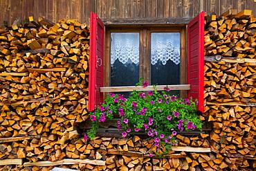 Firewood, Vigo di Fassa, Fassa Valley, Trento Province, Trentino-Alto Adige/South Tyrol, Italian Dolomites, Italy, Europe