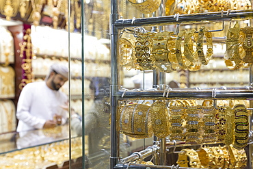 Gold jewellery on sale in shop window, Gold Souk, Dubai, United Arab Emirates, Middle East