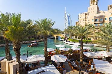 View of Burj Al Arab from Madinat Jumeirah, Dubai, United Arab Emirates, Middle East
