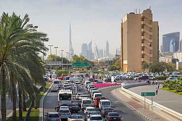 View of Burj Khalifa and Downtown from Union Square, Deira, Dubai, United Arab Emirates, Middle East