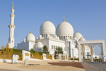 View of Sheikh Zayed Grand Mosque, Abu Dhabi, United Arab Emirates, Middle East