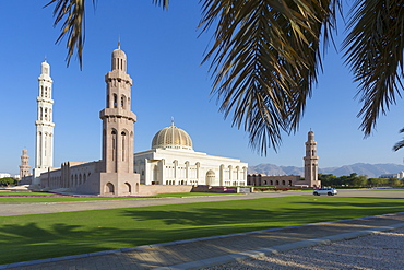View of Sultan Qaboos Grand Mosque, Muscat, Oman, Middle East