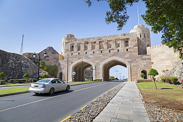 Muscat Gate and entrance to the City of Muscat, Muscat, Oman, Middle East