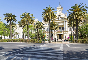 View of Town Hall Palace (Ayuntamiento), Malaga, Costa del Sol, Andalusia, Spain, Europe