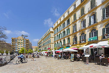 Restaurants and cafes in Plaza de la Merced, Malaga, Costa del Sol, Andalusia, Spain, Europe