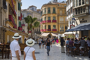 Cafes and restaurants on Plaze del Siglo, Malaga, Costa Del Sol, Andalusia, Spain, Europe