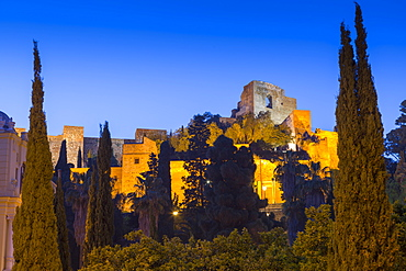 Illuminated view of the walls of Alcazaba, Malaga, Costa del Sol, Andalusia, Spain, Europe