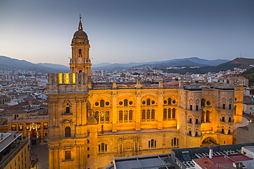 Elevated view of Malaga Cathedral at dusk, Malaga, Costa del Sol, Andalusia, Spain, Europe