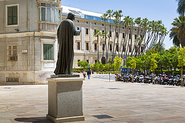 View of Museum of Malaga adorned by palm trees, Malaga, Costa del Sol, Andalusia, Spain, Europe