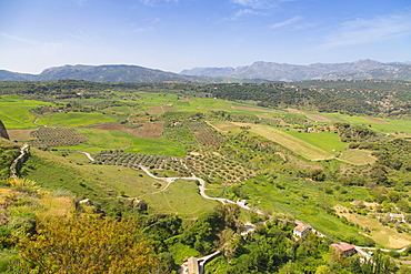View of Andalusian countryside from Alameda Del Tajo, Ronda, Andalusia, Spain, Europe