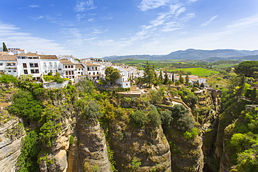 View of Ronda and Andalusian countryside from Puente Nuevo, Ronda, Andalusia, Spain, Europe