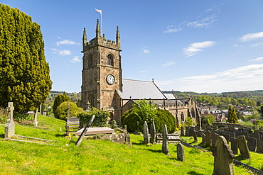 View of Matlock Parish Church in springtime, Matlock Town, Derbyshire Dales, Derbyshire, England, United Kingdom, Europe