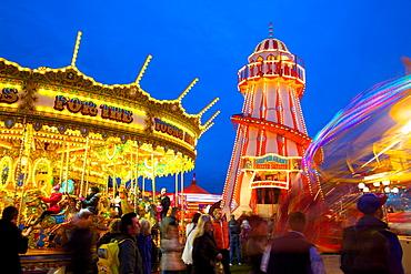 Helter Skelter, Goose Fair, Nottingham, Nottinghamshire, England, United Kingdom, Europe