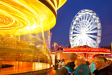 Ferris Wheel and Carousel, Goose Fair, Nottingham, Nottinghamshire, England, United Kingdom, Europe