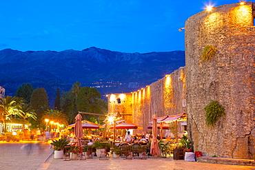 Old Town at night, Budva, Montenegro, Europe