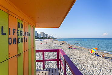 View from colourful Lifeguard station on South Beach and the Atlantic Ocean, Miami Beach, Miami, Florida, United States of America, North America