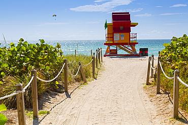 Lifeguard station on South Beach, Miami Beach, Miami, Florida, United States of America, North America