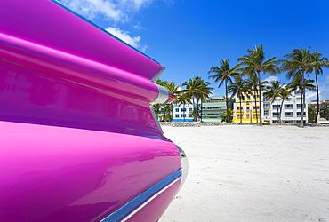 Classic car on Ocean Drive and Art Deco architecture, Miami Beach, Miami, Florida, United States of America, North America
