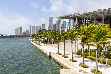 View of Downtown and Perez Art Museum from MacArthur Causeway, Miami Beach, Miami, Florida, United States of America, North America