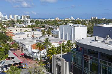 Elevated view towards Collins Avenue and Lincoln Avenue in South Beach, Miami Beach, Miami, Florida, United States of America, North America