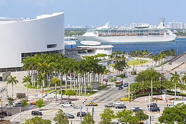 American Airlines Arena in Downtown Miami and cruise ship in Port of Miami, Miami, Florida, United States of America, North America