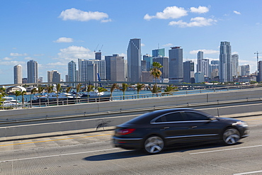 View of Downtown Miami from MacArthur Causeway, Miami, Florida, United States of America, North America